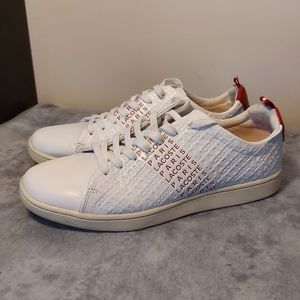 Lacoste Mens Carnaby Evo White Red Shoes Size 9.5